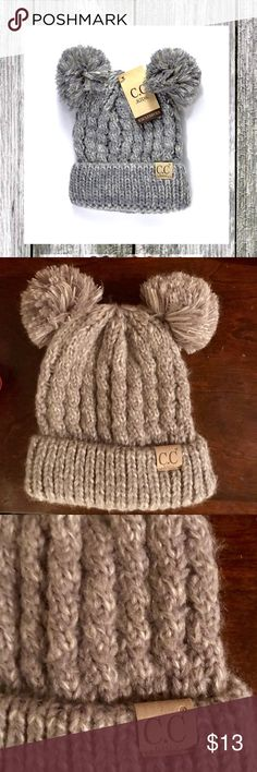 Adorable C. Kids Beanie NWOT CC Beanie to adorn the cutest member of your family!  This beanie features a knit design with a double pom accent! I took the tag off before I actually put it on my head. Way too small but darling! Smoke free home! Purchased at a boutique C.C Accessories Hats