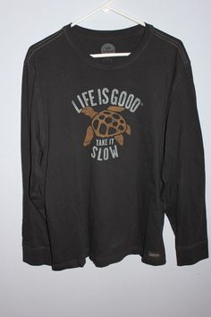Life Is Good Long Sleeve T-Shirt Tee Take it Slow Turtle #LifeIsGood #GraphicTee