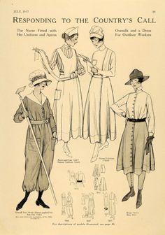 nurses' uniform 7845, apron and cap 7847, overall suit 7860, sun hat 7850, waist 7073, skirt 7011 - McCall's magazine,  July 1917