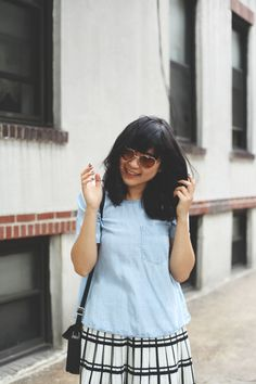 JennifHsieh Summer #Outfit | Heart-Eyed Sunglasses, Chambray Top, Plaid Pleated Skirt, Black Saddle Bag