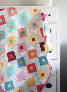 Lucky Quilt, Cluck Cluck Sew- such a pretty colour palette! Jellyroll Quilts, Scrappy Quilts, Baby Quilts, Flannel Quilts, Patchwork Quilting, Low Volume Quilt, Cluck Cluck Sew, How To Finish A Quilt, Quilting Designs
