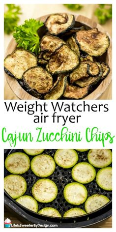 Air fryer Cajun zucchini chips are a healthy snack. This is a great Weight Watchers snack idea that can be Zero Freestyle SmartPoints. This is also a simple air fryer recipe for beginners! #weightwatchers #weightwatchersrecipes #freestyle #airfryer