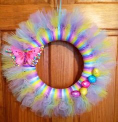 Easter Spring Tulle Wreath Butterfly Eggs by ChicShabbyWreaths Tulle Projects, Tulle Crafts, Wreath Crafts, Diy Wreath, Burlap Wreaths, Wreath Ideas, Diy Projects, Easter Wreaths, Holiday Wreaths