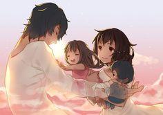 Ookami and Hana and their children, Yuki and Ame from Wolf Children Fanarts Anime, Anime Manga, Anime Wolf, Anime Films, Anime Art, Miyazaki, Wolf Children Ame, Lobo Anime, Cultura Nerd