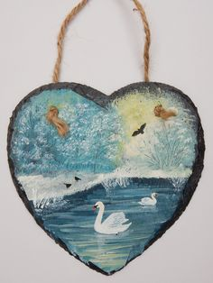 Winter Swans - acrylic on a 6 inch slate heart (SOLD)
