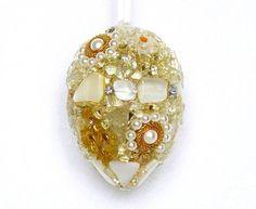 filigree easter egg, mosaic egg, handmade easter gift, holiday decor, gold, white, embellished egg