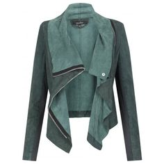 Muubaa Alexis Drape Suede Jacket in Cyan - Jackets from Muubaa UK