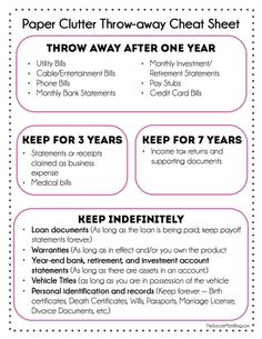 FREE Printable -- what you can toss and what you actually need to keep. Finally get a grip on all that paper!