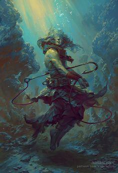 Rahab, Angel of the Deep, Peter Mohrbacher on ArtStation at https://www.artstation.com/artwork/rahab-angel-of-the-deep