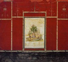 Third style mural painting in red room of Villa of Agrippa Postumus (Agrippa's son). Boscotrecase, ca. 10BC. Delicate frame, no columns, not illusionistic as 2nd, clearly on a background.