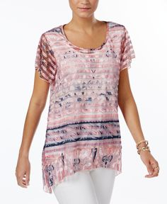 Style & Co Sheer Handkerchief-Hem Top, Only at Macy's