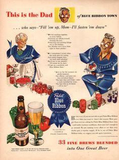 1943 Pabst Blue Ribbon Beer vintage print ad by catchingcanaries