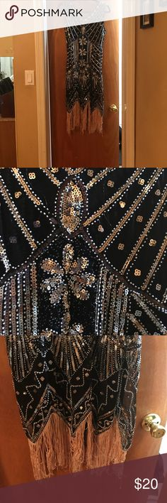 Great Gatsby dress Black silver and rose gold detail the strings at the bottom are stringy worn once ... great for theme event Dresses High Low