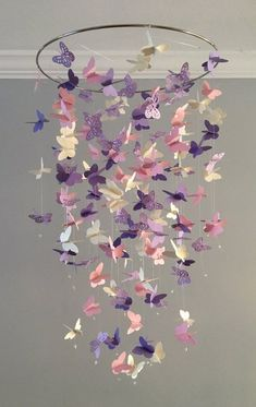 Butterfly Chandelier Mobile, in purple and pink-mostly solid butterflies girl room mobile,nursery mobile,baby girl mobile,baby mobile - Kinderzimmer Dekoration Baby Bedroom, Nursery Room, Girl Nursery, Girl Bedrooms, Nursery Decor, Bedroom Decor, Butterfly Bedroom, Butterfly Mobile, Flower Mobile