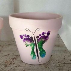 Footprint Butterfly Flower Pot - Mother's Day 2014 Crafts