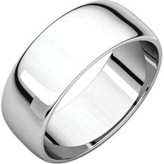14kt White 7mm Half Round Light Band