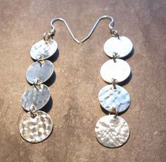 Textured Sterling Silver Coin Circle Earrings, or in Gold. A lovely gift for her or treat yourself Sterling Silver Cufflinks, Sterling Silver Earrings, Circle Earrings, Dangle Earrings, Long Silver Earrings, Jewelry Making Tutorials, Silver Coins, Gold Jewelry, Gifts For Her