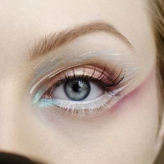 Baby Blue Eye Makeup - #inspiration #eyemakeup #streaks #colorful #pastelmakeup #dressedinmint - bellashoot.com
