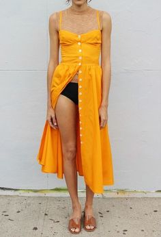 Street Style + Yellow Summer Dress www.emfashionfiles.com