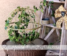Repurposed Hanging Baskets - Ribbons & Glue