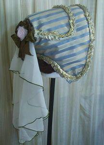 D68 Blue/Gold OOAK Gothic Victorian Scuttle  Bucket Civil War hat bonnet