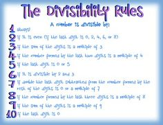 This free colorful chart lists all of the divisibility rules for 1 - Hang it up in your classroom as a reference or pass it out to the sutdents as notes when teaching the lesson! Math Teacher, Math Classroom, Teaching Math, Teaching Ideas, Classroom Ideas, Math Strategies, Math Resources, Math Tips, Fun Math