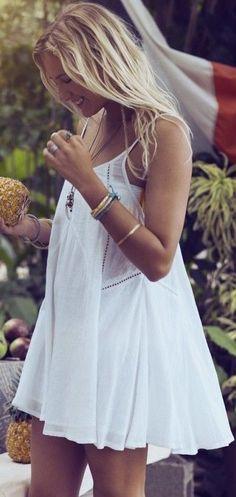 Beachy, white dress.