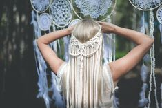 Your place to buy and sell all things handmade - Informationen zu Your place to buy and sell all things handmade Pin Sie können mein Profil ganz ei - Macrame Headband, Headband Veil, Bohemian Headband, Bohemian Wedding Hair, Wedding Veils, Bohemian Hairstyles, Shower Accessories, Macrame Design, Boho Diy