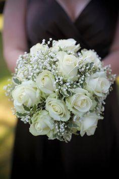 Round Wedding Bouquet: Ivory Roses, White Gypsophila, Green Ivy