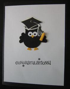 Graduation Card - Stampin' Up Owl Punch Graduation Cards Handmade, Pinterest Cards, Owl Punch Cards, Graduation Scrapbook, Owl Card, Card Making Tutorials, 3d Cards, Marianne Design, Congratulations Card