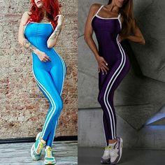 Sexy Striped Tight Spaghetti Cut-Out Yoga Jumpsuit