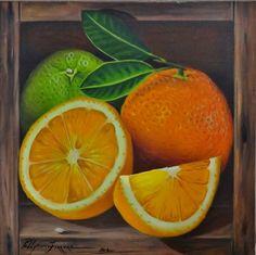 Uma fruta deliciosa, para suco ou mesmo para descascar e chupar, nesta pintura parece estar dentro de uma caixa de verdade. Tudo faz parte da ilusão criada pelo efeito 3D.
