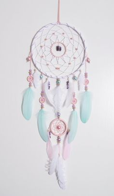 Grote roze Mint Dream Catcher Boheemse door MagicalSweetDreams