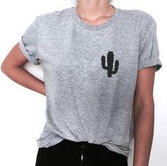 Cactus pocket print Tshirt gray Fashion funny slogan by Nallashop