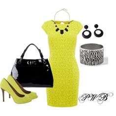 Yellow Dress, created by pamela-barrett-williamson on Polyvore