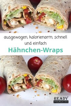Schnelle Hähnchen-WrapsThanks for this post.Our quick chicken wraps are made in no time and are very filling and super healthy. Thanks to the homemade sauce and the multi-grain wraps, they are low in calories and fit perfect# chicken Chicken Wraps, Healthy Chicken Recipes, Healthy Snacks, Law Carb, Homemade Sauce, Calories, Zucchini, Meal Planning, Stuffed Peppers