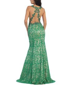 Another great find on #zulily! Emerald Lace Overlay Sheer Back Gown #zulilyfinds