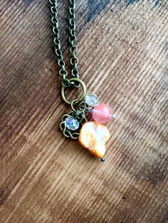 Upcycled Charm Necklace:Orange Abalone Bead Glass by Five17Designs