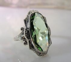 1930s, CLARK & COOMBS, Sterling Silver Ring, Faceted Green Glass Ring, Art Deco Ring, Art Nouveau Ring, Victorian Style Ring, Vintage Ring