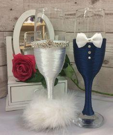 Mr & Mrs BRIDE and GROOM Wedding glass set Champagne toasting flutes navy white Wedding Toasting Glasses, Wedding Champagne Flutes, Wedding Bottles, Toasting Flutes, Diy Wedding Wine Glasses, Champagne Glasses, Wedding Crafts, Wedding Decorations, Bride And Groom Glasses