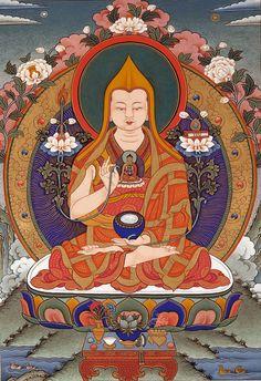 Lama Tsongkhapa with Buddha Shakyamuni at his heart, and Buddha Vajradhara at Buddha Shakyamuni's heart