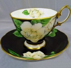 Teacup: Royal Albert China - T  white flowers on a black background with green leaves.