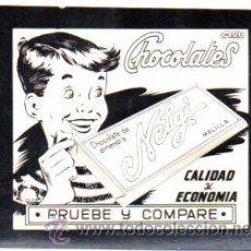 Postalita Publicitaria,Chocolate Nelgi,Melilla,original,buen estado,años 60,ver la foto