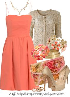 """Coral Dress"" by uniqueimage on Polyvore"