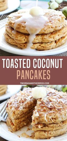 Toasted Coconut Pancakes are light and fluffy with toasted coconut topping! This pancake is the best brunch or breakfast recipe. They are made with eggs, coconut oil, coconut milk, and toasted coconut! Serve with maple syrup for a morning treat!