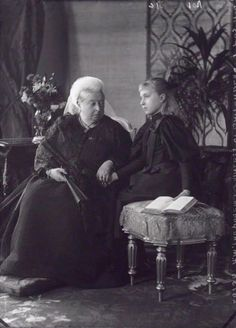 Queen Victoria with her granddaughter, Princess Alice of Hessen, who would become Czarina of Russia.