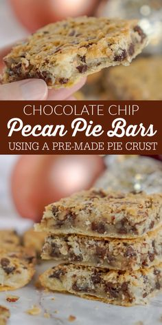 Easy Pecan Pie Bars without Corn Syrup! A Holiday Favorite Pie Bar Recipe for Thanksgiving and Christmas! These Pecan Pie Bars are packed with pecans, coconut, and chocolate chips! So easy to make with a pre-made pie crust and without corn syrup! #lemonpeony #piebars #pecanpiebars #holidaypiebars #chocoaltechip #coconut #holidaypies Chocolate Chip Pecan Pie, Chocolate Chips, Thanksgiving Recipes, Holiday Recipes, Pie Crust From Scratch, Delicious Desserts, Dessert Recipes, Holiday Pies, Pecan Pie Bars
