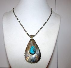 Vintage Native American Navajo Sterling Silver Turquoise Pendant Necklace by Highly Collectible Artist George Begay