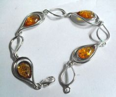 Silver link bracelet with amber insets #10772