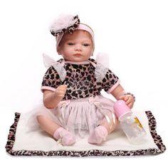 86.58$  Buy here - http://ali3ob.worldwells.pw/go.php?t=32692100986 - 22 Inch 55 cm Reborn babies  Dolls  Real newborn baby Looking Silicone dolls girls toys bebe Brinquedos boneca